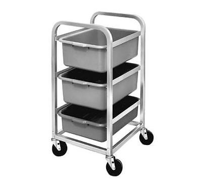 Channel Manufacturing Mobile Aluminum Bus Utility Cart w/ Three 5in deep Tubs