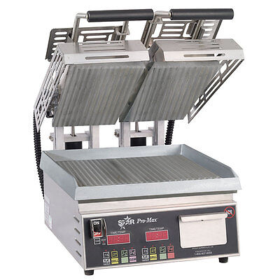 """Star CG14STE Pro-Max Two-Sided Sandwich Grill - 14"""" x 14"""" Grooved Grill"""
