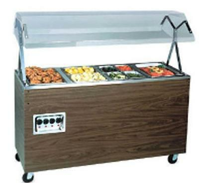 Vollrath 4 Well Walnut Hot Food Steam Table Mobile W/ Solid Base 120V - T38945