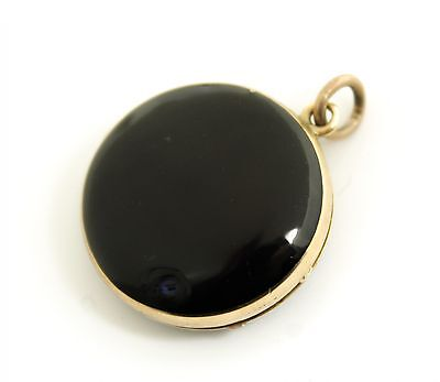 Antique Early-Mid 19c 14K Gold Enamel Hair Mourning Jewelry Locket