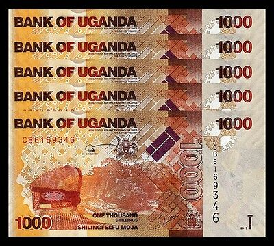 Uganda 1000 Shillings 2015 Unc 5 Pcs Consecutive Lot  P 49 New