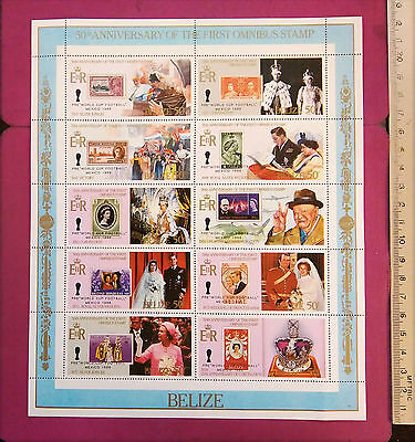 Belize 50th Anniversary of the First Omnibus Stamp 10 value perf. sheetlet MNH
