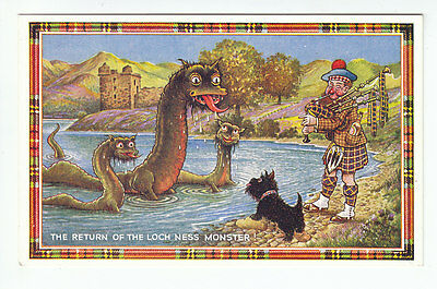 The Return Of The Loch Ness Monster Inverness JB White Old Postcard Scotland