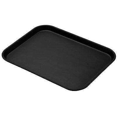 "Cambro 1622CT110 Case of 12 - 16""x22"" CamTread Serving Tray Black Satin"