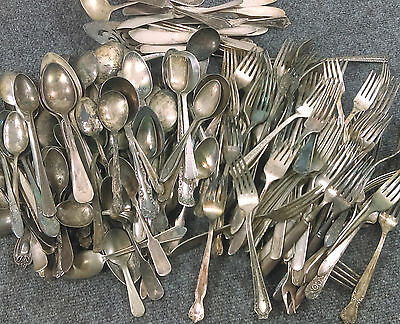 Craft-Grade Vintage Silverplate Flatware Lot/200+ Pieces Spoons Forks Mixed Old