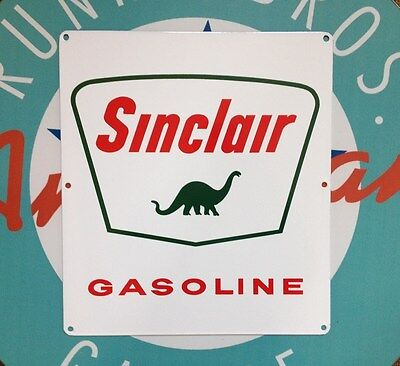"SINCLAIR DINO GASOLINE- PORCELAIN COATED METAL SIGN - 13.5"" by 12"""