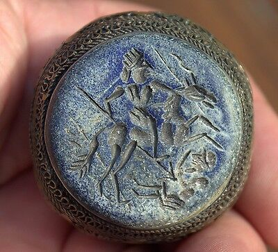 Stunning GIANT Very Old Lapis Lazuli Intaglio Stone Medieval Bronze Ring