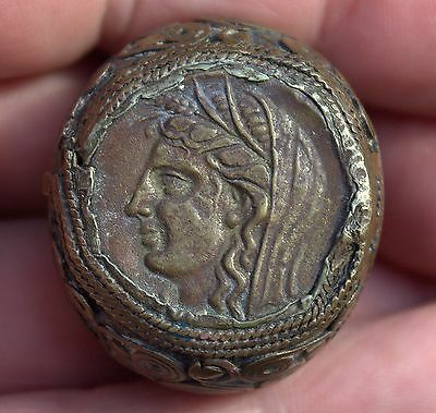 Stunning Large Very Old Roman Coin Medieval Bronze Ceasar Emperor Ring