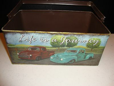 Country new vintage looking TRUCKS rectangle bucket w/handle/ Life is a journey