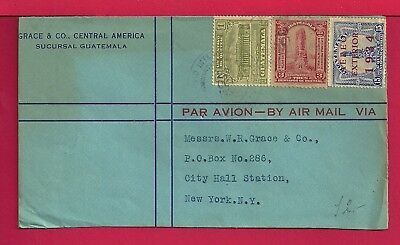 1934 Guatemala Multi Franked Air Mail Cover To Usa