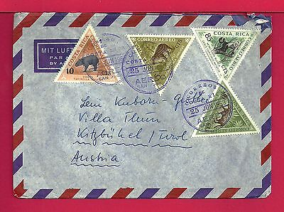 1963 Costa Rica Triangles On Multi Franked Air Mail Cover To Austria