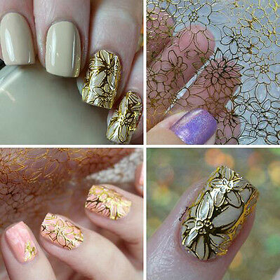 1 Sheet Embossed 3D Nail Art Stickers Blooming Flower Decals Tips Decoration DIY