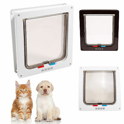 Pets Mate Dog Door Cat Flap Puppy Small Pets 4 Way Locking Lockable Entry Exit