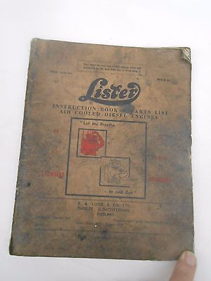 1967 ** LISTER AIR COOLED ENGINES ** Instruction Book & Parts List