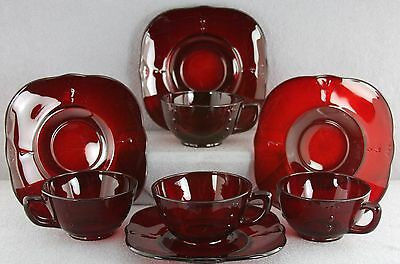 Vintage Paden City Ruby Crows Foot Pattern Elegant Glass Lot 4 Cups & Saucers