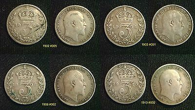 King Edward VII Silver 3d threepence 1902 - 1910. Choose your coin
