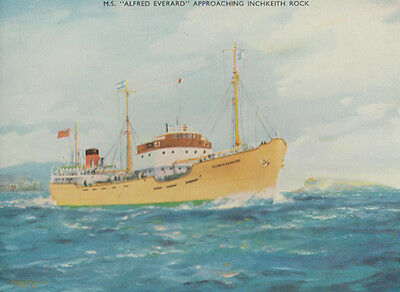 MS Alfred Everard Approaching Inchkeith Rock Advertising Rare Ship Postcard