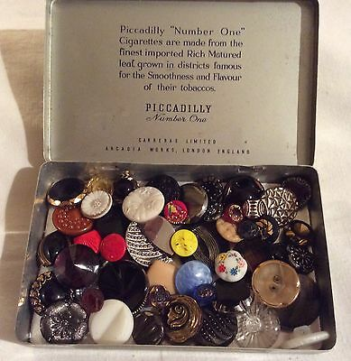 Collection of 50 vintage Glass Buttons inc Art Deco in Piccadilly Cigarette Tin