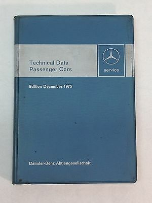 Vintage Mercedes Benz 1975 Service Technical Data Booklet W115 W116 R107 W114