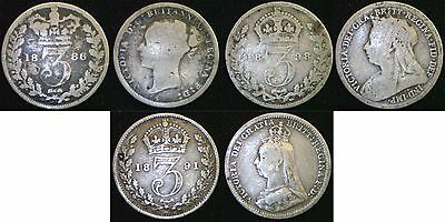 Queen Victoria Silver 3d threepence 1874 - 1901. Choose your coin