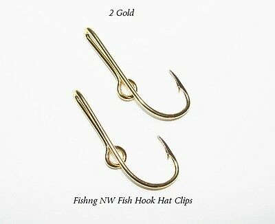 *2* Gold Colored Fish Hook Hat Clips / Pins
