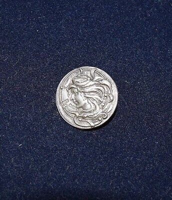 Antique Sterling Silver Button Art Nouveau Woman with Flowing Hair -15/16''