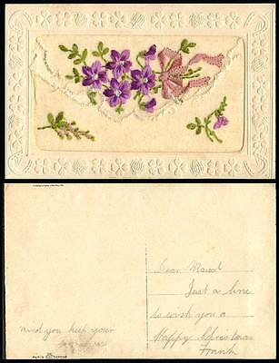 WW1 SILK Embroidered Old Postcard Flowers Knot & Empty Wallet, Novelty Greetings