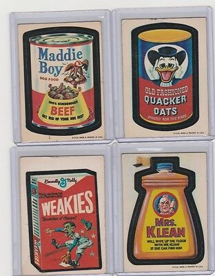 1973 Topps Wacky Packages 1st Series 4 Sticker Lot White Back MADDIE DOG WEAKIES