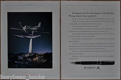 1988 PARKER PEN 2-page ad, Duofold Centennial pen with Supermarine S.6B trophy