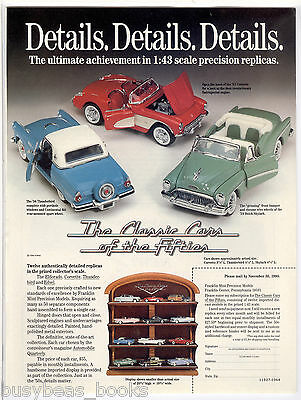 1990 Franklin Mint advertisement for 1:43 Classic Cars of the Fifties set