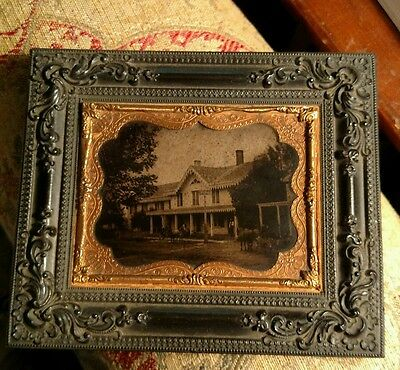 Rare Gutta Percha Frame Picture Of A Hotel With Man Looks Like Lincoln.