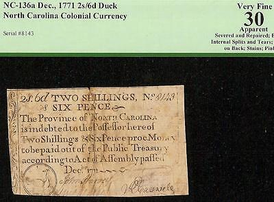 1771 Duck Note North Carolina Colonial Currency Note Old Paper Money Pcgs Vf 30