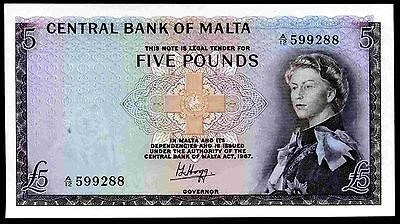 Malta. Five Pounds, A/12 599288, (1968), Almost Uncirculated.