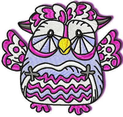 Funny Owls  10 Machine Embroidery Designs Cd 3 Sizes