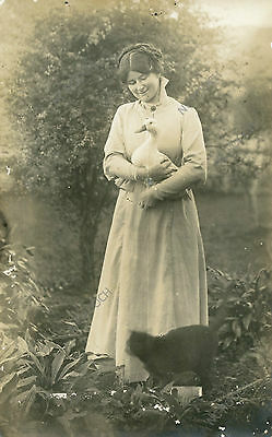 vintage cat postcard real photo Victorian woman holds duck black cat at feet NZ