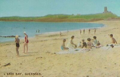 Guernsey L'Eree Bay Beach Family Outing Vintage Postcard