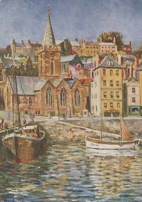 Boat Ship at Guernsey St Peter Port Church Oilette Painting Postcard