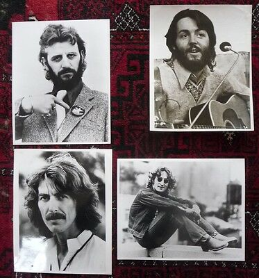 4 solo Beatles publicity photos issued by Apple Corps, Savile Row, mid-1970's