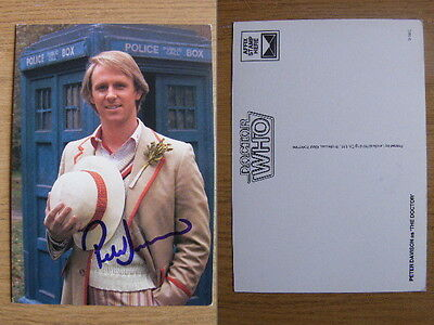 PETER DAVISON RARE HAND SIGNED AUTOGRAPH OFFICIAL 80s PHOTO CARD DOCTOR WHO COA