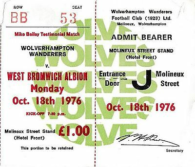 Football Ticket WOLVES v WEST BROMWICH ALBION Oct 1976 Mike Bailey Testimonial