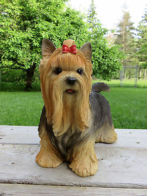 Yorkshire Terrier  Resin Dog Statue Figurine Pretty Girl 12In.canine Home Decor
