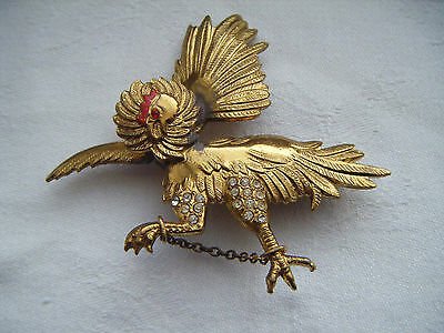 Vintage red enamel diamante French chained cockerell brooch pin C1940s