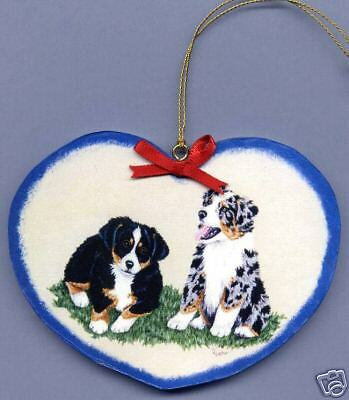 AUSTRALIAN SHEPHERD PUPS HEART SHAPED Wooden ORNAMENT - Hand Crafted !
