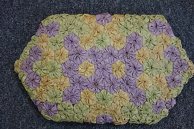 20's Boudoir Pillow-Yo-Yo Quilt Blocks-10x16-Lavender,Green,Yellow-ROMANTIC-SALE