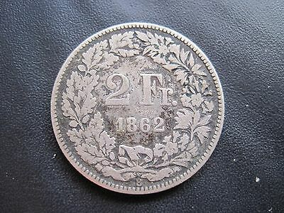 1862 Switzerland Seated Helvetia .800 Silver 2F 2 Francs Coin