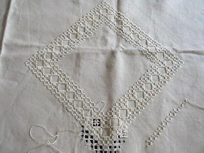 """UNFINISHED Vtg HARDANGER Piece 21x39"""" Pillow, Doily or Runner WARM CREAM Color"""