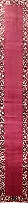 """Palace Sized Pink Runner 2x16 Signed Tabriz Persian Oriental Rug 16' 4"""" x 2' 5"""""""