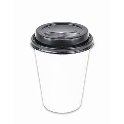 2dayShip 100 Pack WHITE Paper Coffee Hot Cups with BLACK Travel Lids - 12 New