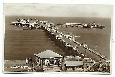 SOMERSET - OLD PIER, WESTON SUPER MARE Real Photo Excel Series Postcard