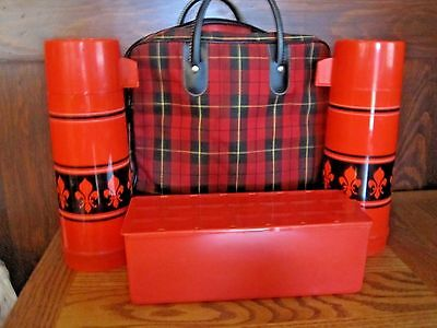 Vintage ALADDIN THERMOS SEARS red plaid lunch picnic set 2 thermos & lunch box